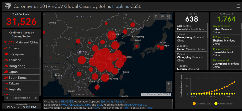 coronavirus map spread